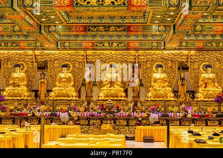 Grand Hall of Ten Thousand Buddhas at the The Big Buddha and Po Lin Monastery, Lantau Island, Hong Kong, China, Asia - Stock Photo