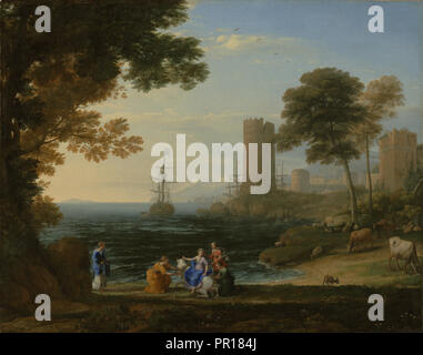 Coast View with the Abduction of Europa; Claude Lorrain, Claude Gellée, French, 1604 or 1605 ? - 1682, Rome, Italy; 1645 - Stock Photo