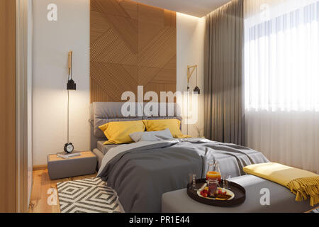 3d illustration, bedroom interior design concept. Visualization of the interior in the Scandinavian architectural style. Render in warm, natural color - Stock Photo