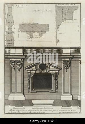 fatta con architettura di Carlo Maderno, Finestra della facciata del Tempio Vaticano nel secondo ordine, fatta con architettura - Stock Photo