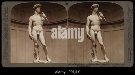Academy of Fine Arts, Florence, Michelangelo's David, Academy of Fine Arts, Florence, Stereographic views of Italy - Stock Photo