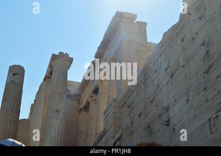 Propylaea of the Acropolis of Athens Viewed From Its Inner Side Part. Architecture, History, Travel, Landscapes. July 9, 2018. Athens Greece. - Stock Photo