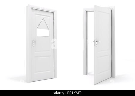 3d white door on white background - Stock Photo