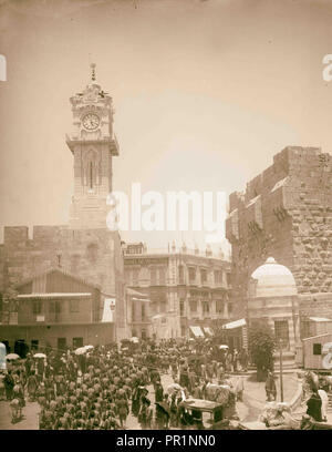 Marching in front of American Colony store. Grand New Hotel, Jerusalem 1907 Israel - Stock Photo