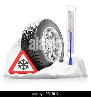 Winter tyre, illustration. - Stock Photo