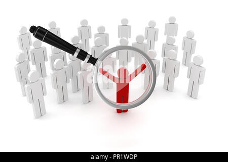 3d man, crowd and magnifying glass - Stock Photo