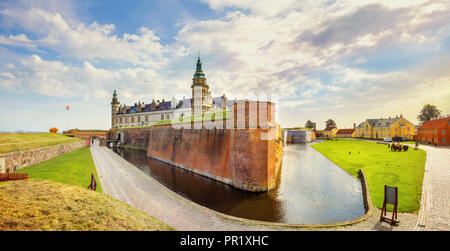 Panoramic view of Kronborg castle with water canal and fortifications walls. Helsingor, Denmark - Stock Photo