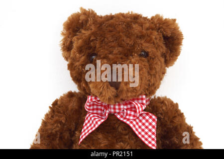Brown Plush Teddy Bear with Red and white Ribbon - Stock Photo