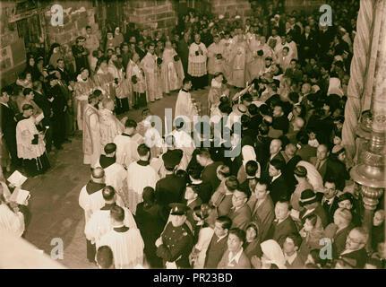 Calendar of religious ceremonies in Jerusalem Easter period 1941 1941, Jerusalem, Israel - Stock Photo