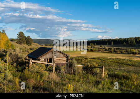 Old Rustic Log Cabin With The Fall Woods In The