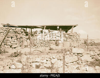 British Military Camp at klm. 41, Lubban-Nablus, Middle East Rd. British observation post on a hill-top near Lubbau, West Bank - Stock Photo