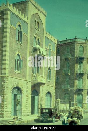 Newer Jerusalem and suburbs. Jaffa Road. Apartment houses built by Arabs. 1950, Jerusalem, Israel - Stock Photo