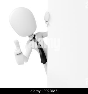 3d man businessman standing behind a blank board - Stock Photo