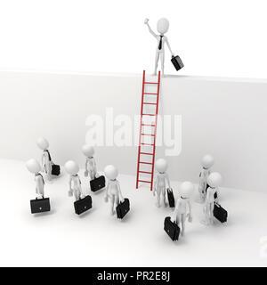 3d man businessman leader, business metaphor - Stock Photo