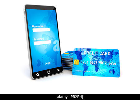 3d mobile phone and credit cards, online shopping concept - Stock Photo