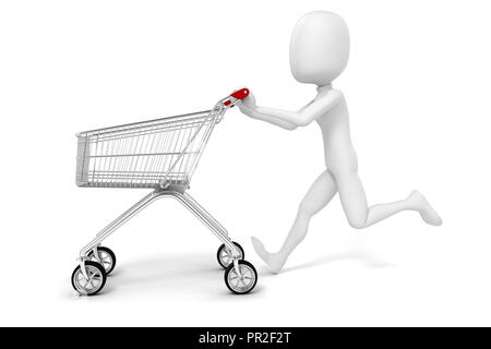 3d man and shopping cart on white background - Stock Photo