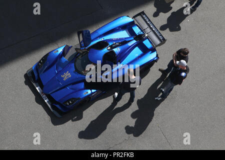 Praga R1R sports car produced by the Praga Company pictured from above during a press presentation in Prague, Czech Republic, on 28 May 2015. - Stock Photo