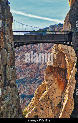 Old bridge over Los Gaitanes gorge, in El Caminito del Rey, in the province of Malaga, Spain - Stock Photo