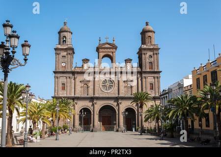 Views of the Cathedral of Santa Ana, in Las Palmas, Canary Islands, Spain, on February 17, 2017 - Stock Photo