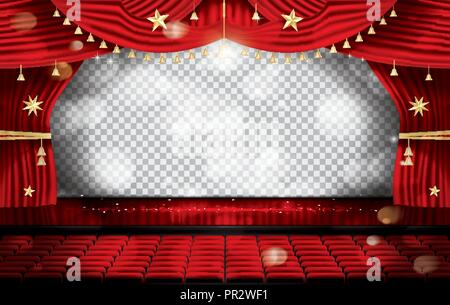 Red Stage Curtain with Seats and Transparent Copy Space. Theater, Opera or Cinema Scene. Light on a Floor. Vector Illustration. - Stock Photo