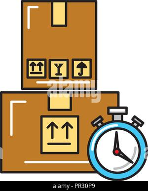 online shopping logistic clock cardboard boxes - Stock Photo