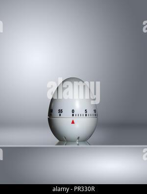 White Egg Timer set to 0 - Stock Photo