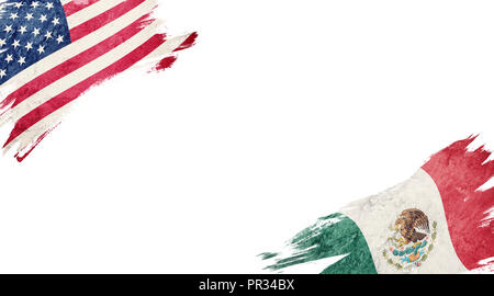 Flags of USA and Mexico on white background - Stock Photo