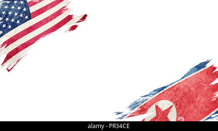 Flags of USA and North Korea on white background - Stock Photo