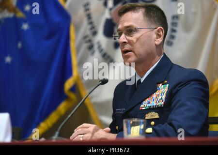Coast Guard Rear Adm. Scott McKinley, whose responsibilities include the Coast Guard Reserve, addresses the Reserve Chiefs' Panel at the Reserve Officers Association, Arlington, Va., July 22, 2017. - Stock Photo
