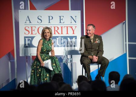 U.S. Marine Corps Gen. Joseph F. Dunford, Jr., chairman of the Joint Chiefs of Staff, speaks alongside moderator Andrea Mitchell, NBC News Chief Foreign Affairs Correspondent, at the 2017 Aspen Security Forum in Colo., July 22, 2017. Gen. Dunford explained U.S. strategy and how it would be carried out in the years ahead. - Stock Photo