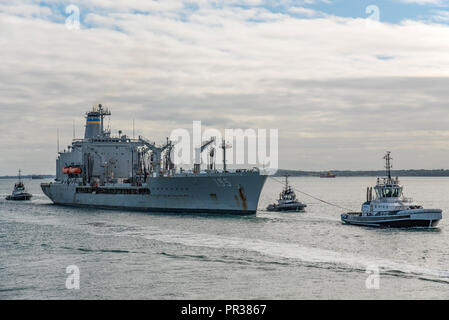 The United States Navy auxiliary replenishment tanker USNS Leroy Grumman (T-AO 195) arriving at Portsmouth, UK on the 28th September 2018. - Stock Photo