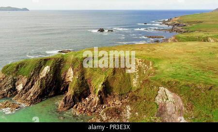 Ireland from above – Dunquin Pier on Dingle Peninsula - Stock Photo