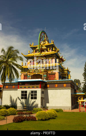 Namdroling Monastery at Kushalnagar, Coorg, Karnataka, India - Stock Photo