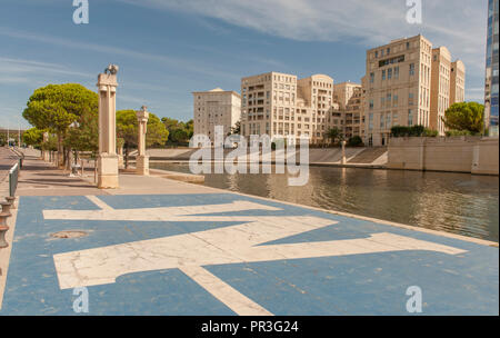 The new waterfront of the Antigone neighboorhood and the banks of the Lez river, Montpellier, France - Stock Photo