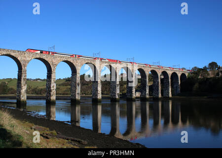 HST125 diesel multiple unit train operated by LNER crossing Royal Border Bridge on East Coast Main Line at Berwick-upon-Tweed on 28th September 2018. - Stock Photo