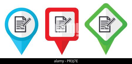 Subscribe red, blue and green vector pointers icons. Set of colorful location markers isolated on white background easy to edit. - Stock Photo