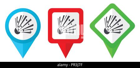 Bomb red, blue and green vector pointers icons. Set of colorful location markers isolated on white background easy to edit. - Stock Photo