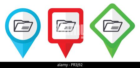 Folder red, blue and green vector pointers icons. Set of colorful location markers isolated on white background easy to edit. - Stock Photo