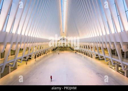 NEW YORK CITY, USA - OCTOBER 23, 2016: The Westfield World Trade Center Mall and transportation center in Lower Manhattan. - Stock Photo