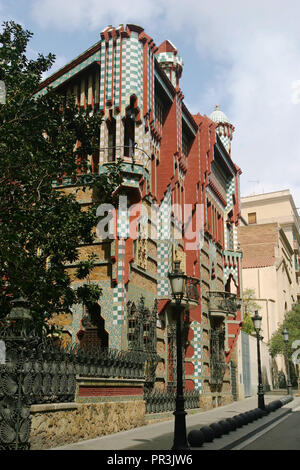 Casa Vicens, designed by Antoni Gaudí and built for industrialist Manuel Vicens in Barcelona, Spain. - Stock Photo