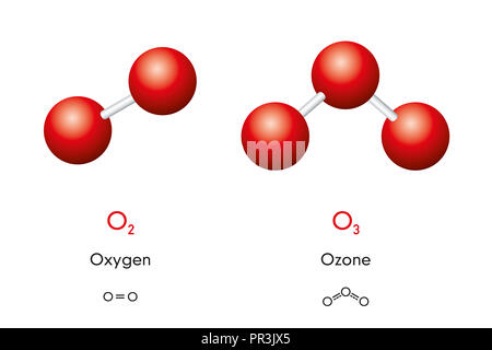 Oxygen, O2, molecule model and chemical formula. Also ...