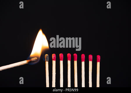 Lit match next to a row of unlit matches. The Passion of One Ignites New Ideas, Change in Others. - Stock Photo