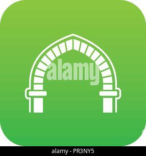 Antique arch icon green vector - Stock Photo