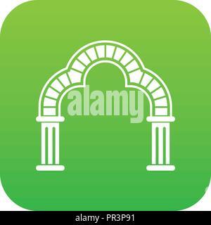 Entrance arch icon green vector - Stock Photo