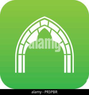 Construction arch icon green vector - Stock Photo