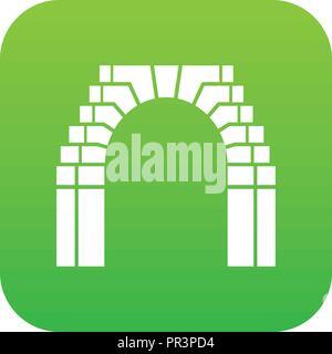 Brick arch icon green vector - Stock Photo