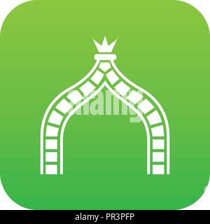 Ancient arch icon green vector - Stock Photo