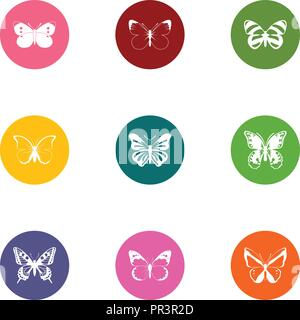 Wing of butterfly icons set, flat style - Stock Photo