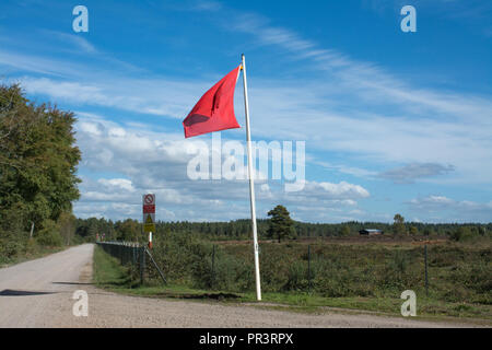 Woolmer Forest landscape, with red danger flags flying. The site is used for military training, and is a Site of Special Scientific Interest (SSSI) - Stock Photo