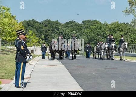 """Two caissons from the 3rd U.S. Infantry Regiment (The Old Guard) Caisson Platoon, The U.S. Army Band """"Pershing's Own,"""" and Soldiers from The 3rd U.S. Infantry Regiment (The Old Guard) conduct military funeral honors with funeral escort for two unknown Civil War Union Soldiers in Section 81 of Arlington National Cemetery, Arlington, Virginia, Sept. 6, 2018. These interments were part of the dedication ceremony for the newest area of Arlington National Cemetery, also known as the Millennium site, which consists of 27 acres with more than 27,000 interment spaces, two new committal shelters, and f - Stock Photo"""